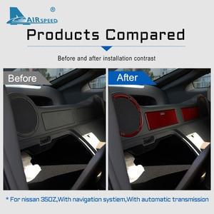 Image 5 - FLUGGESCHWINDIGKEIT für Nissan 350Z 2006 2009 Zubehör Carbon Fiber Innen Trim Auto Seite Hinten Lagerung Zurück Handschuh Box Lautsprecher aufkleber