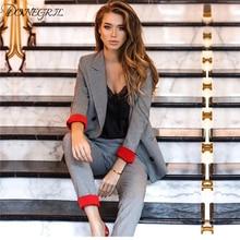 2019 Elegant Plaid Women Suit Set 2 Piece Blazer Jacket & St