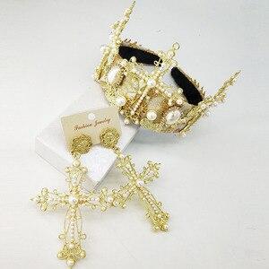 Роскошный свадебный головной убор с крестообразной головкой, модные свадебные диадемы и короны свадебный головной убор, аксессуары для вол...