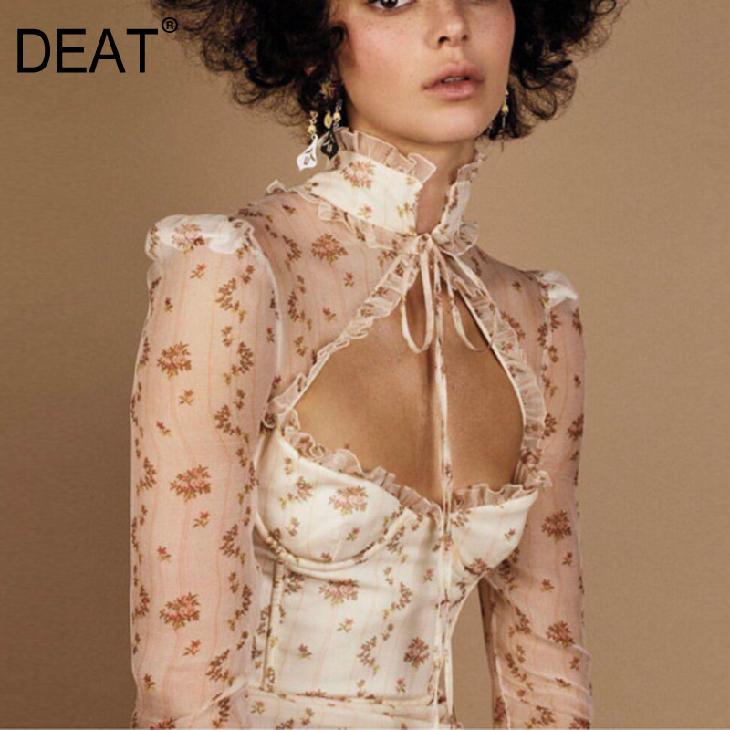 DEAT 2020 New Summer Fashion Women Clothing Hollow Out Chest Full Sleeves Lace Up Bow Collar High Waist Printed Shirt Top WL8520