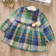 Kids Baby Girl Dress Clothes Plaid Long Sleeve