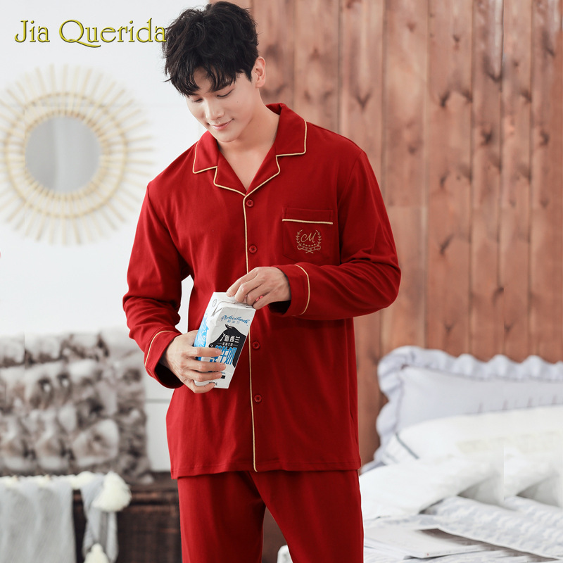 Autumn Pajamas 100% Cotton Red Men's Home Clothing Set Winter Mens Sleep Clothes Solid Pjs Loungewear Pocket Long Sleeves Pants