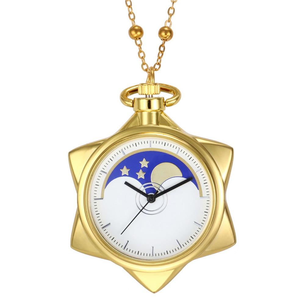 Five-Pointed Star Unisex Fashion Bronze Chain Necklace Pocket Watch Watch Clock Wholesale Relogio De Bolso #4O04
