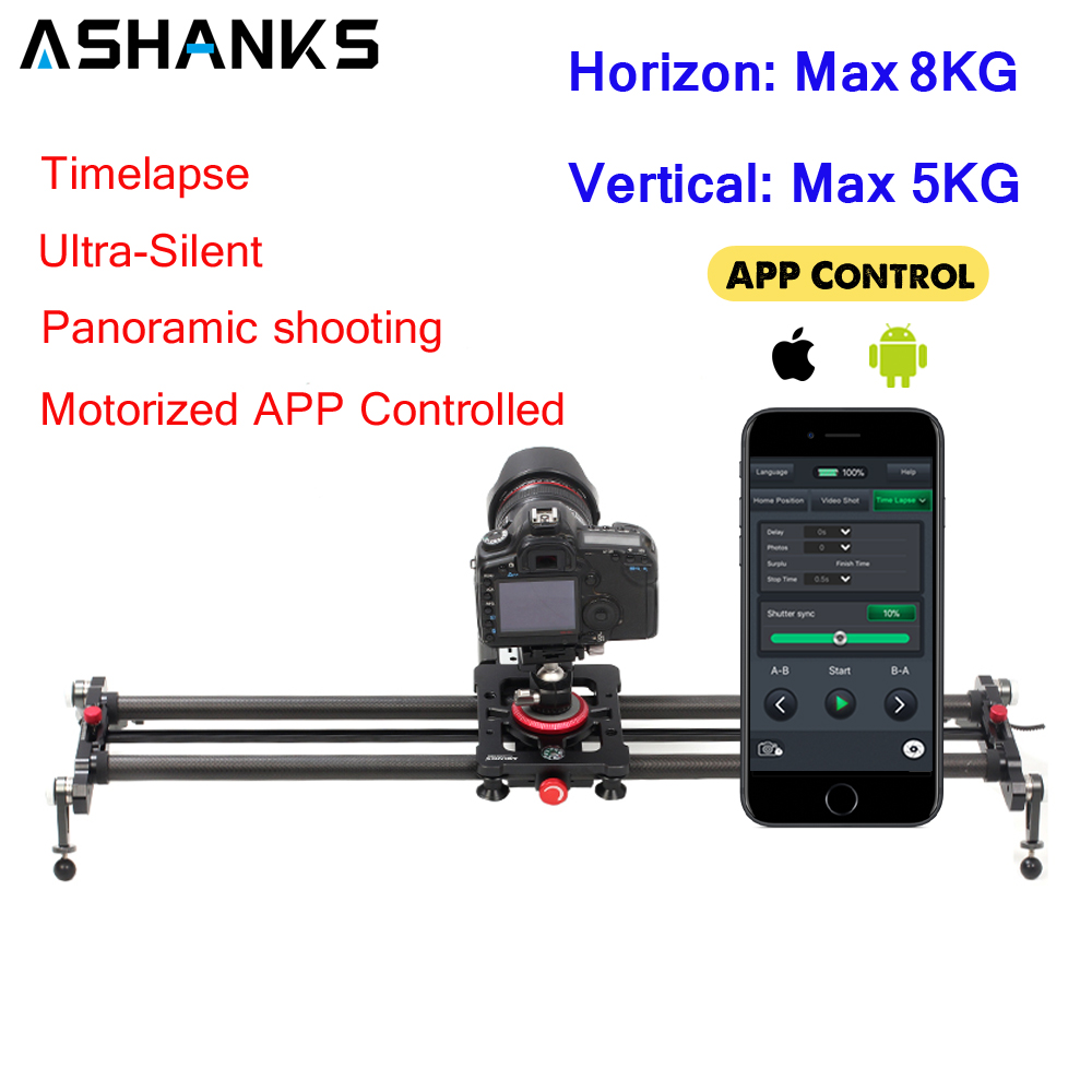 ASHANKS Bluetooth Carbon Camera Slide Follow Focus Motorized Electric Control Delay Slider Track Rail for Timelapse Photography image