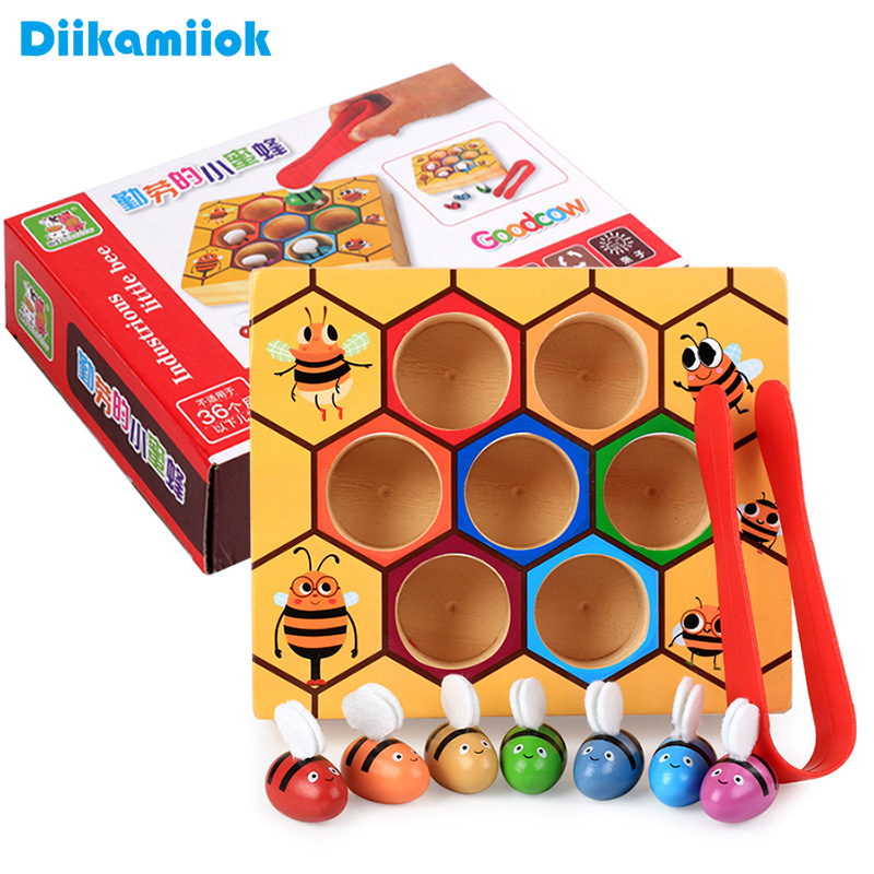 Hot Wooden Leaning Educatinal Toys Children Montessori Early Education Beehive Game Childhood Color Cognitive Clip Small Bee Toy(China)