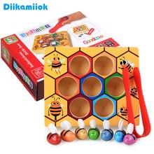 Juguetes Educativos de madera para niños Montessori, juego de colmena de Educación Temprana, Clip cognitivo de Color infantil, juguete pequeño de abeja