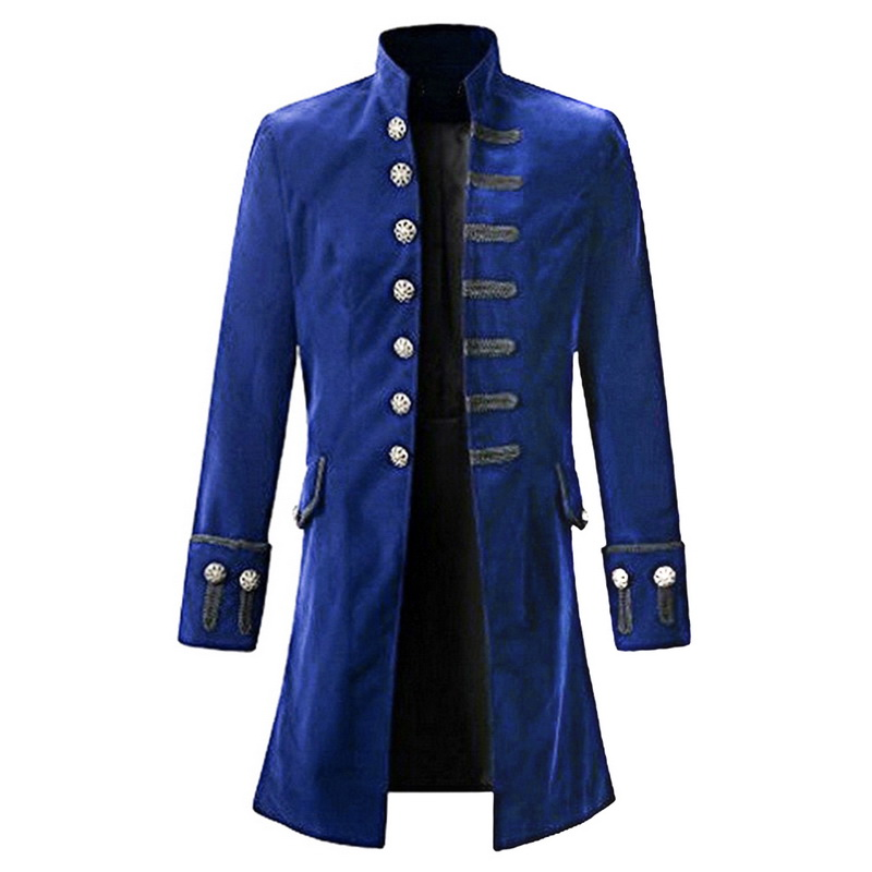 Suit Men Slim Fit Mens Self-cultivation Velvet Goth Steampunk Pure Color Frock Coat Casual Long Sleeve Suit Jacquard Clothing