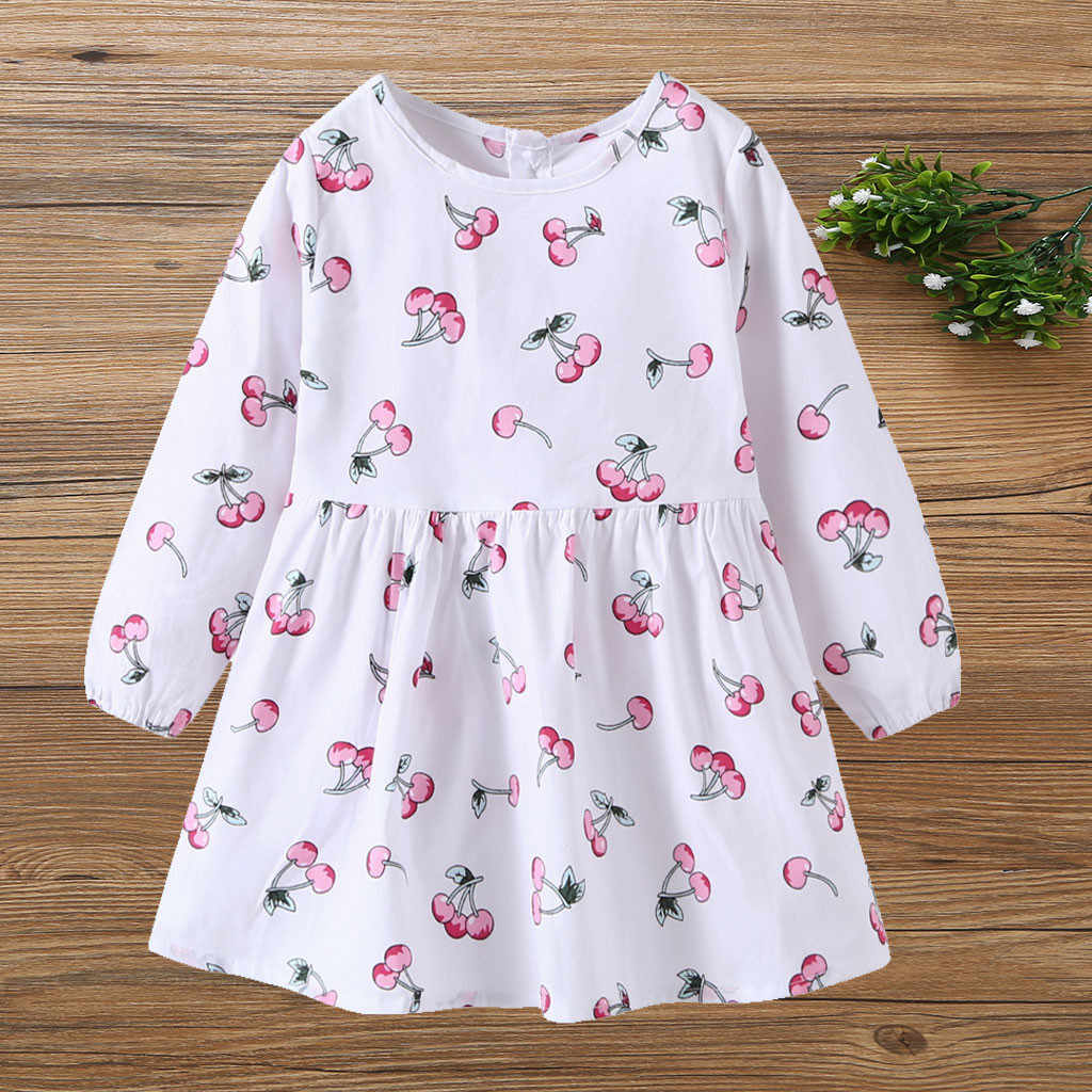 2019 fashion kid baby girls dress long sleeve Toddler Kid Baby Girl Long Sleeve Cartoon Fruit Printed Princess Dress Clothes