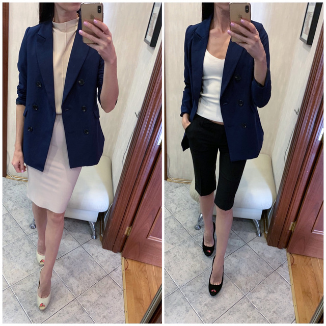 Image 5 - Women Casual Blazer Jacket New Fashion 2019 Spring Autumn Double Breasted Office Lady Long Blazers Coats Female Suit S011-in Blazers from Women's Clothing