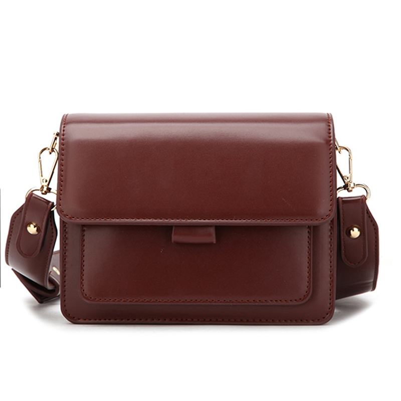 Women PU Leather Shoulder Bag Texture Fashion Ladies Small Square Bag Wild Youth Female Daily Bag Wide Shoulder Strap Wine Red