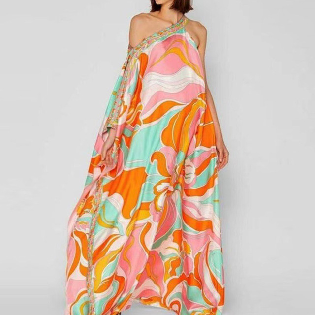 Retro Floral Print Elegant Maxi Dress Women 2021 Summer V-Neck Loose Long Boho Dresses Casual Female Split Dress Ladies Vestidos 6
