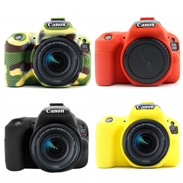 Silicone Armor Skin Case Body Cover Protector for Canon EOS 200D Mark II 250D Rebel SL2 SL3 DSLR Camera