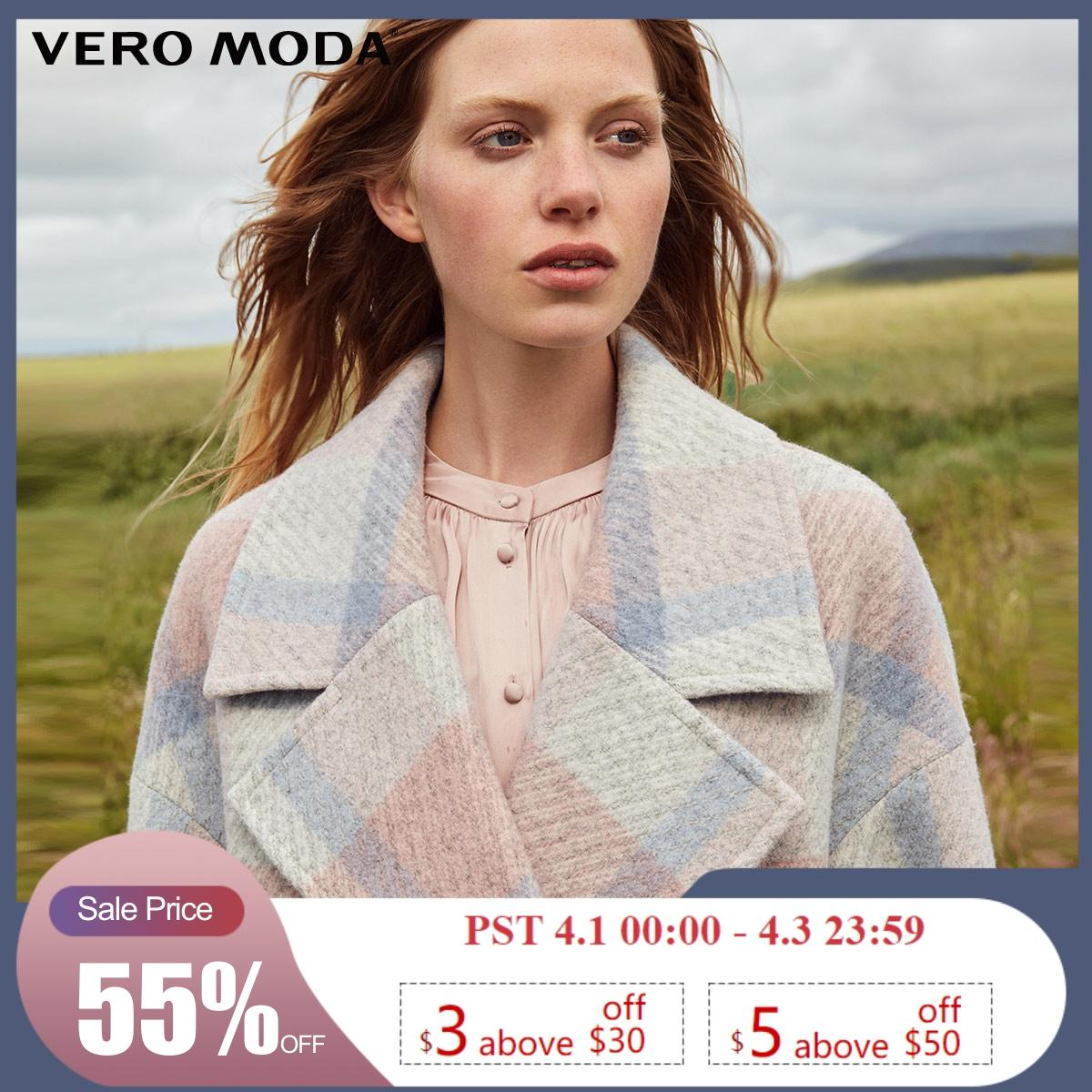 Vero Moda Women's Plaid Double-Breasted Woolen Coat | 318327557
