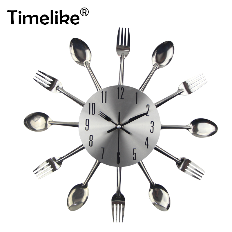 Nordic Kitchen Wall Clock Silent Cutlery Metal Wall Art Clocks Large 3d Wall Clocks Kitchen Restaurant Living Room Home Decor