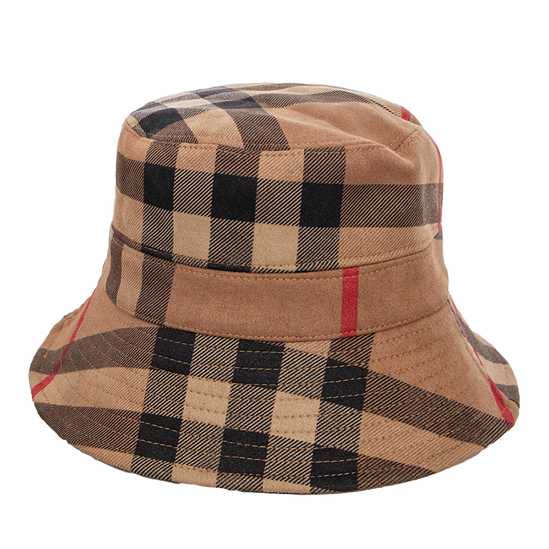 Hot Spring Autumn and Winter New Color Plaid Women's Artificial Suede Basin Hat Casual Folding Warm Women's Fisherman's Hat