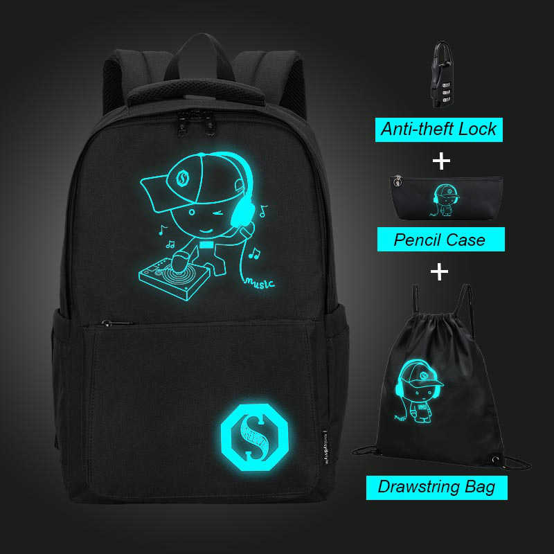 Large Capacity Student Backpack Oxford Cloth Luminous Cartoon School Bags for Teenager Boys Casual Waterproof Girls Backpack