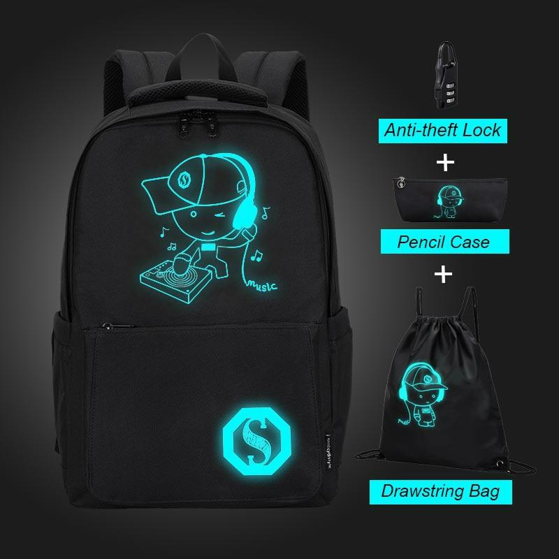 Large Capacity Student Backpack Oxford Cloth Luminous Cartoon School Bags For Teenager Boys Casual Waterproof Girls Backpack