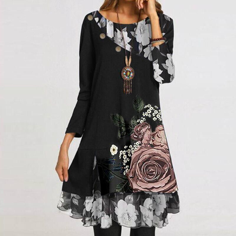 2021 bahar yeni zarif çiçek baskı parti elbise kadınlar Vintage o-boyun uzun kollu elbiseler bayanlar Casual gevşek elbise Vestidos 3XL