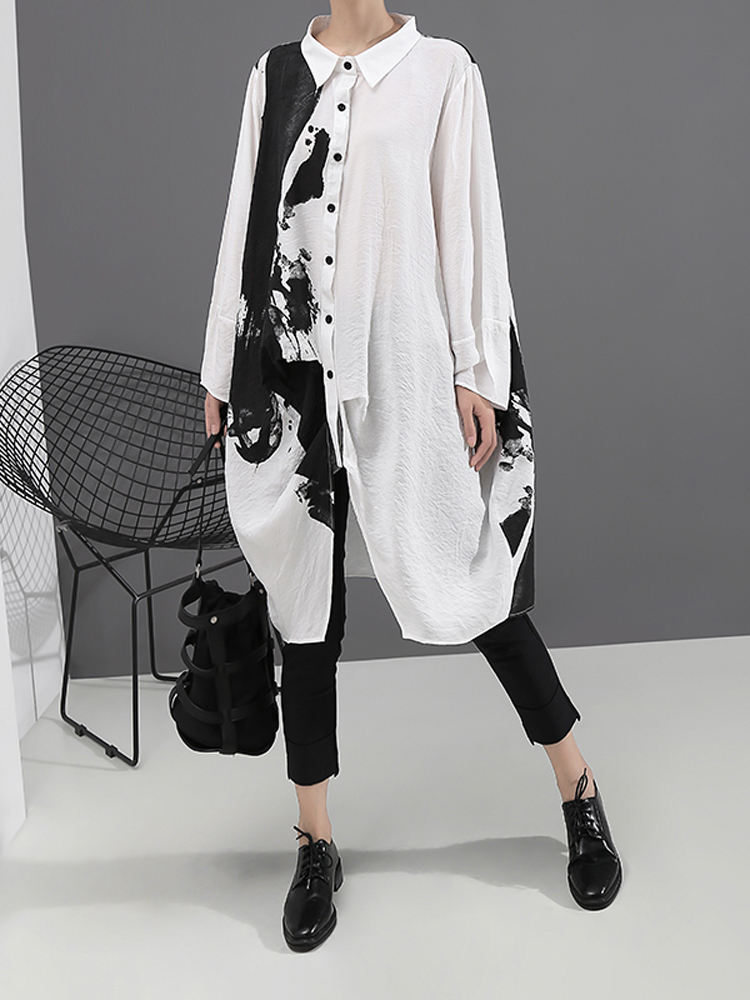 Korean Style Woman Long Sleeve White Print Shirt Dress Painting Plus Size Straight Lady Casual Midi Dress Loose Robe Femme 5459