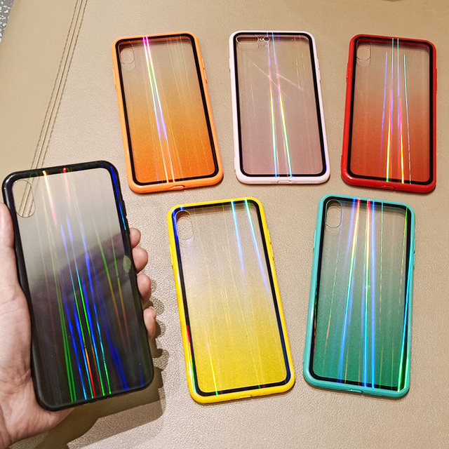 Fashion Gradient Rainbow Laser Case for iPhone 11 Pro XS Max Xr Transparent Hard Capa Fundas
