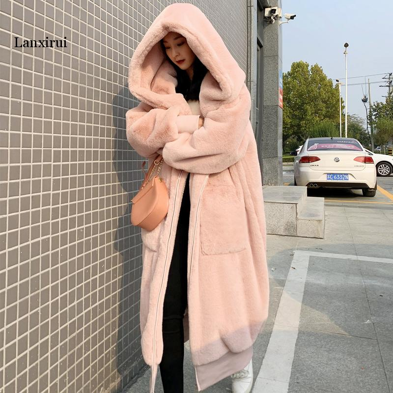 High Quality Hoodies Long Pink Faux Fur Coat Oversized Thicken Elegant Rabbit Fur Women Winter Coat Plus Size Female Plush Coats