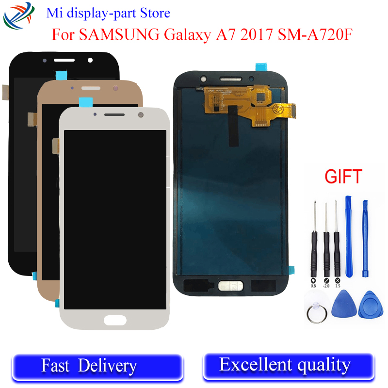 For <font><b>SAMSUNG</b></font> Galaxy A7 2017 SM-A720F A720F <font><b>A720</b></font> <font><b>LCD</b></font> Display Digitizer Touch Panel Screen Assembly Free Tools image