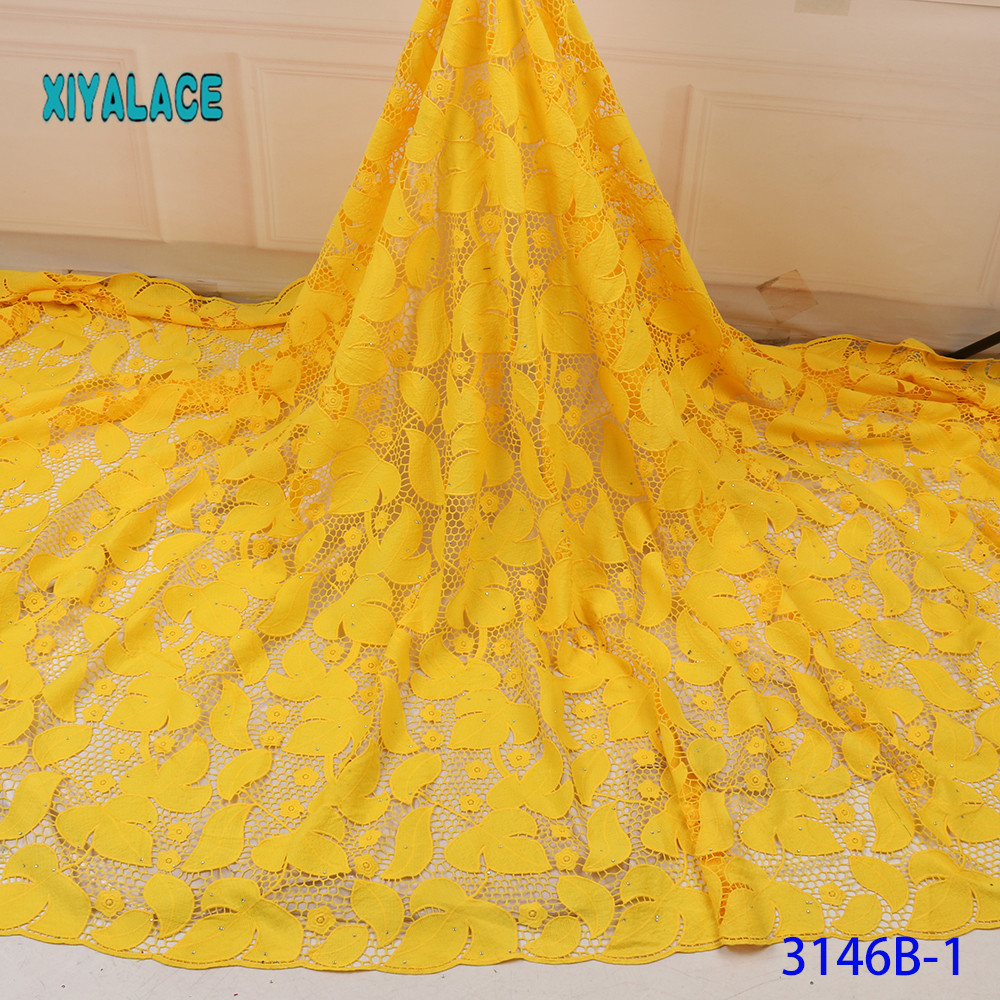 Yellow High Quality Swiss Voile Laces In Switzerland Cotton African Dry Cotton Lace Fabric Nigerian Voile Lace 5Yards YA3146B-1