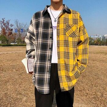 Korean Plaid Shirts For Men 2020 Fashion Patchwork Long Sleeve Casual Shirt Hip Hop Streetwear Man Blouse turtleneck falbala patchwork plaid blouse