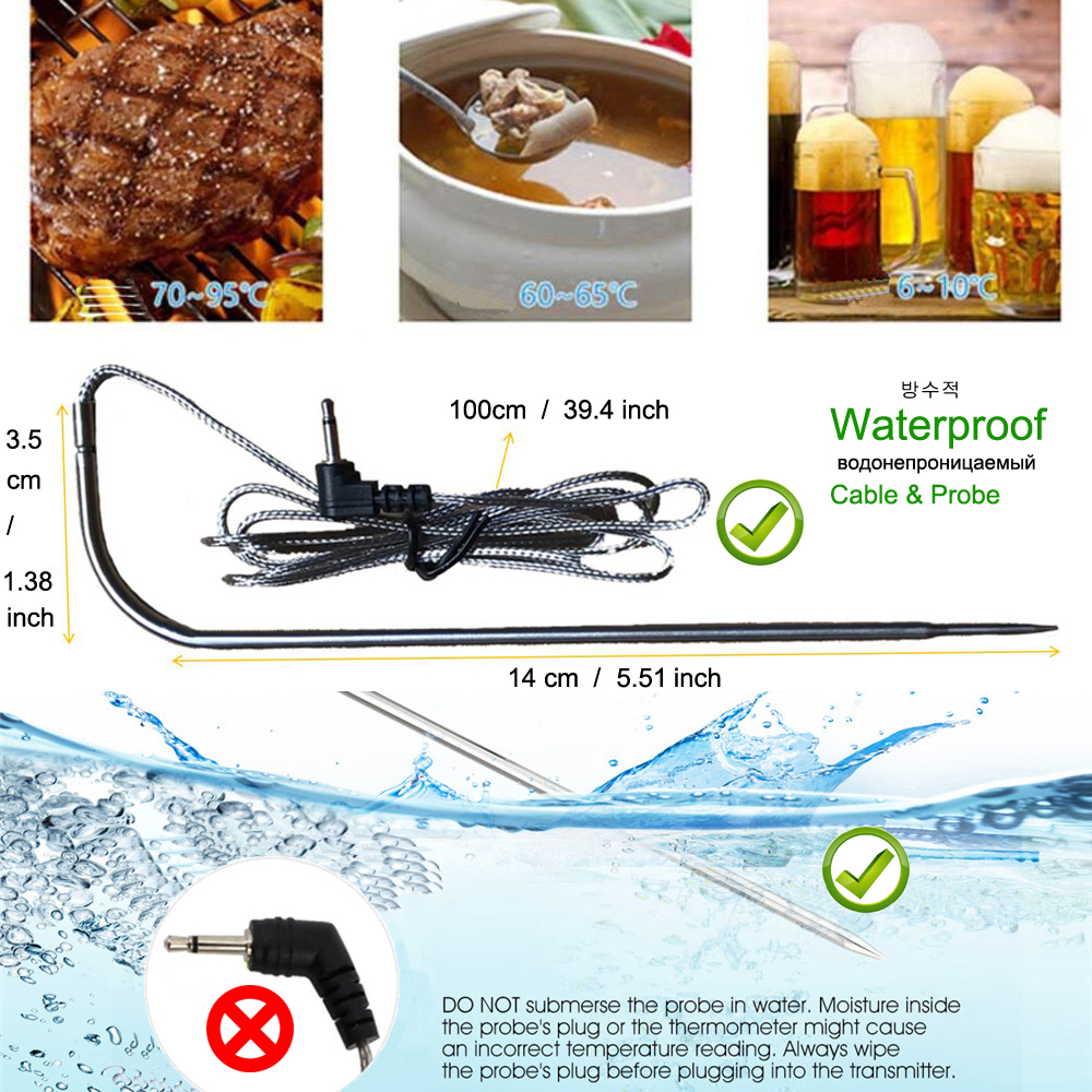 Digital Wireless Food Thermometer for Cooked Food and Grilled Meat with Timer and Temperature Alarm 8
