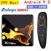 X99 Max Plus TV caja Android 9,0 Amlogic S905X3 Quad Core 4GB RAM 32GB 64GB Wifi 1000M BT 8K Set top BOX media player PK X96.