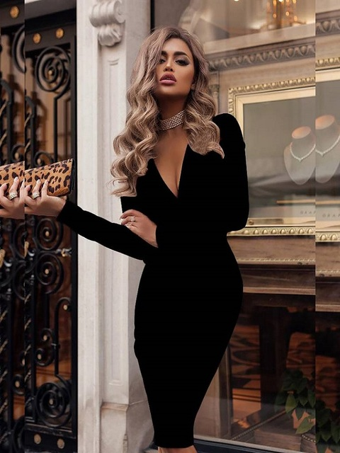 Women's Dress Autumn Winter Casual Solid Color Long Sleeve Elegant Office Lady Dress Sexy Deep V-Neck Bodycon Pencil Party Dress 3