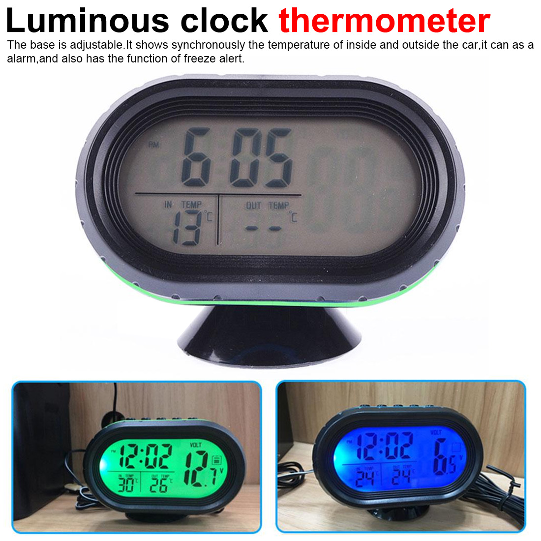 Car clock watch car electronic mometer luminous clock car electronics accessories 12v thermometer alarma auto