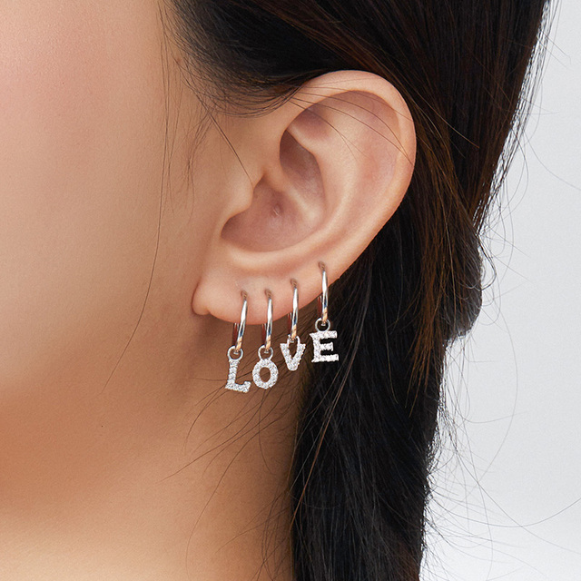 1 piece Simple Ear Hoops with 26 Letters Alphabet Charm for Earrings for Women DIY Jewelry Making Fashion Bijoux SCP035