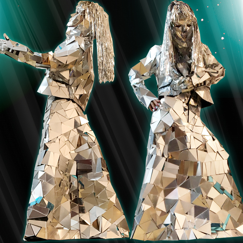 Hand-Stitched Mirror Clothing Laser Show Wear Cosplay Women Men Mirror Costumes Performance Stage Outfit Singer Clothes DN4572