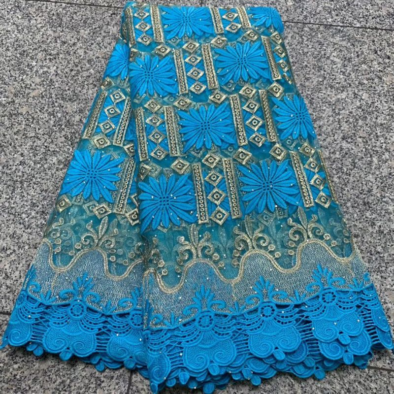 African Lace Fabric With Rhinestone 2019 Latest Design High Quality Swiss Voile Lace Fabrics For Dress French Nigerian Lace