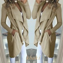 New Fashion Women Lady Trench Coat Long Sleeve Sexy Slim Fit