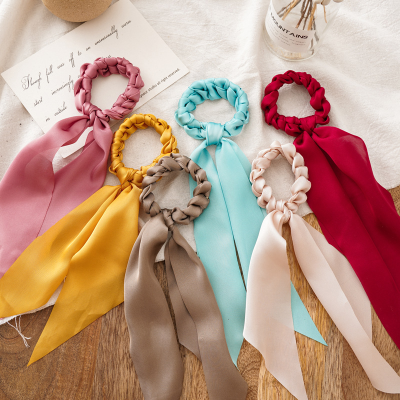 New Women Ponytail Long Streamers Scrunchies Elastic Hair Band Bow  Ribbon Hair Scarf Rope Ties Fashion Hair Accessories