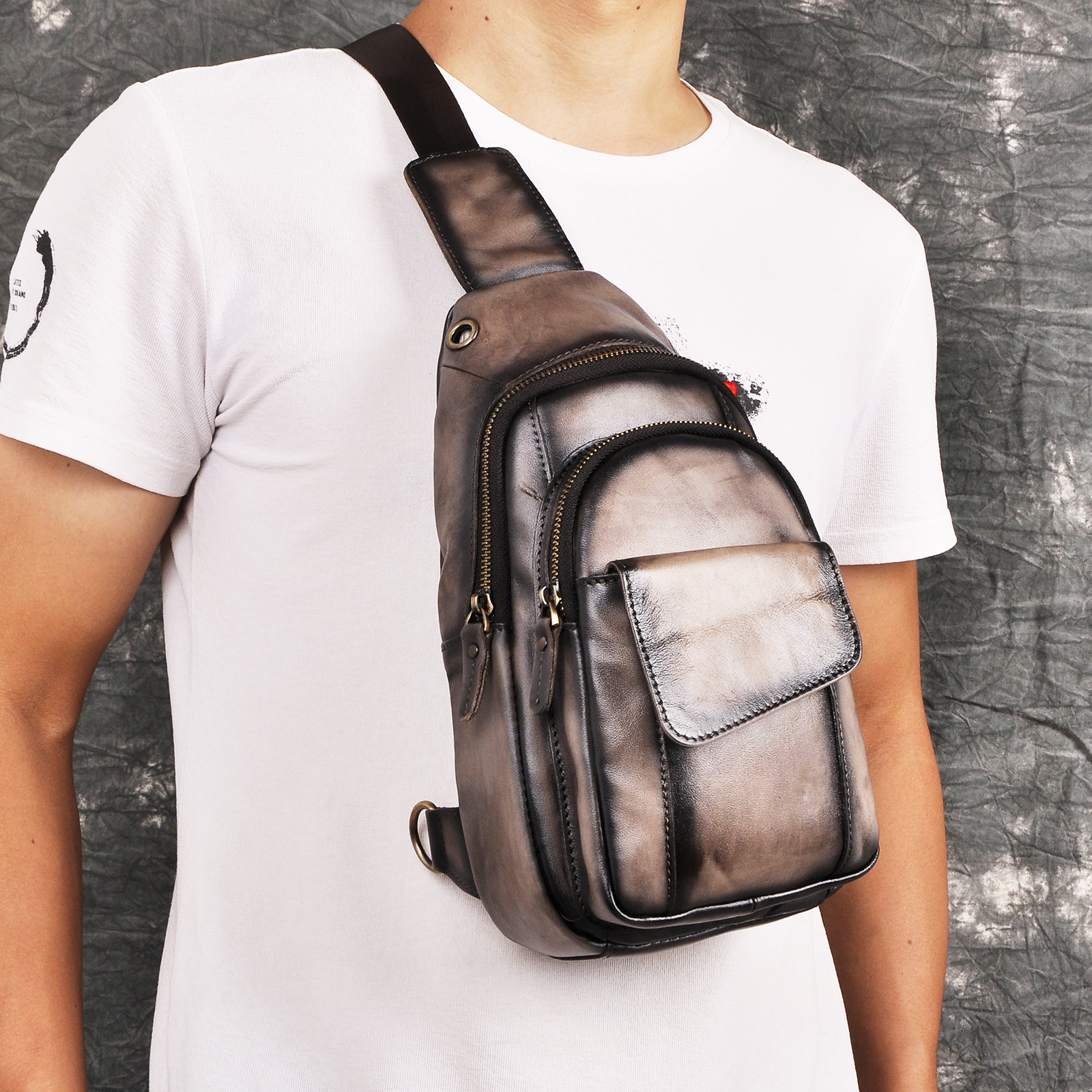 Men Quality Crazy Horse Leather Casual Fashion Crossbody Chest Sling Bag Design Travel One Shoulder Bag Daypack Male 8013-dc