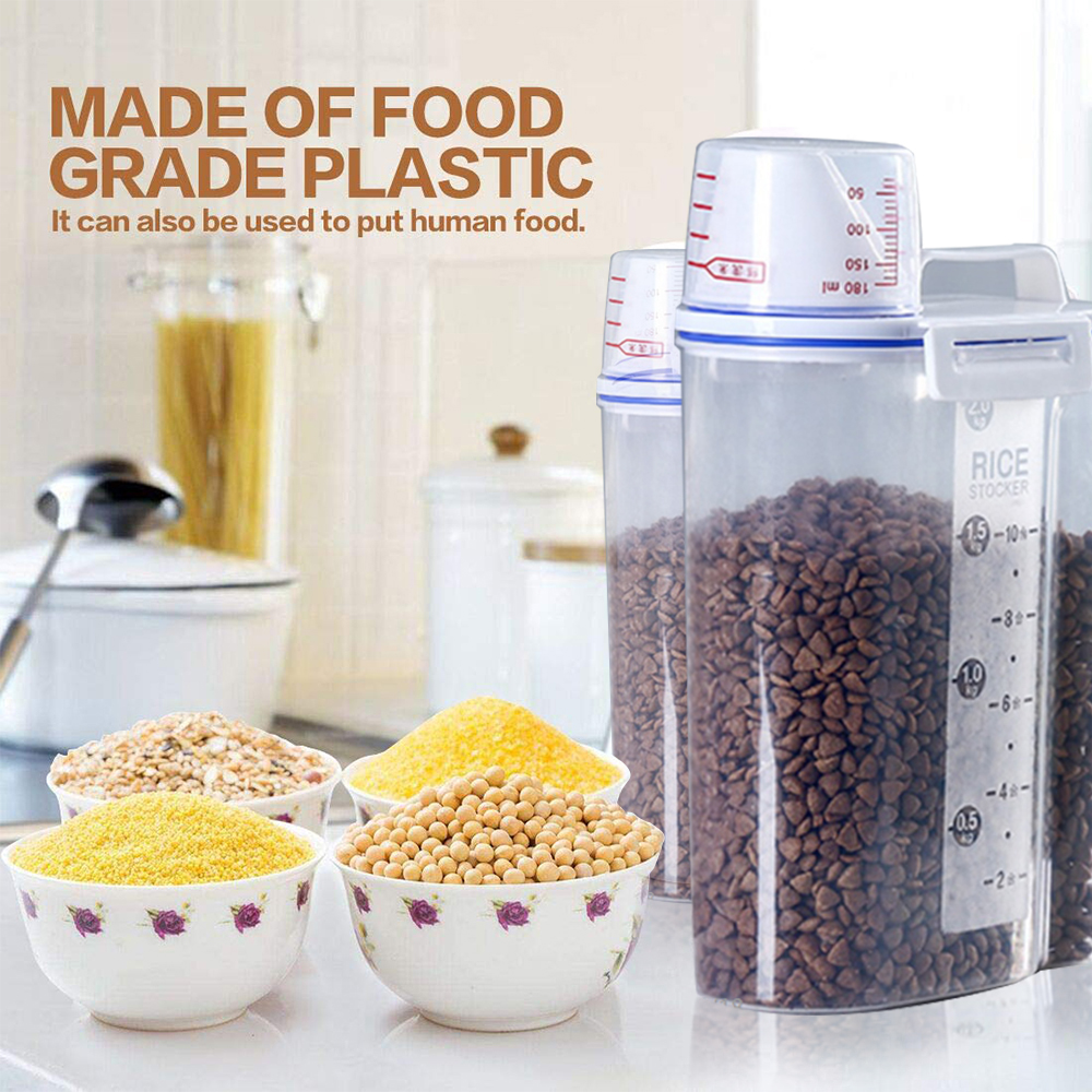 New Portable Plastic Pets Dog Cat Food Storage Container Dry Food Dispenser Puppy Dog Feeder Portable Food Container Feeder