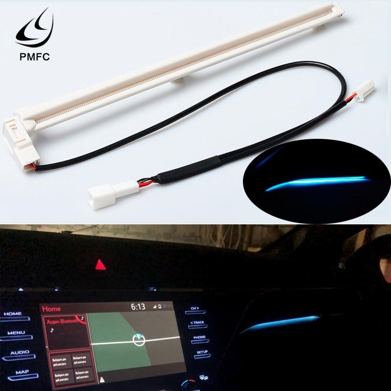 PMFC LED Decorative Light  Car Interior Center Console Atmosphere Light For Camry 2018 White Plastic Ice Blue 12V LED Chips