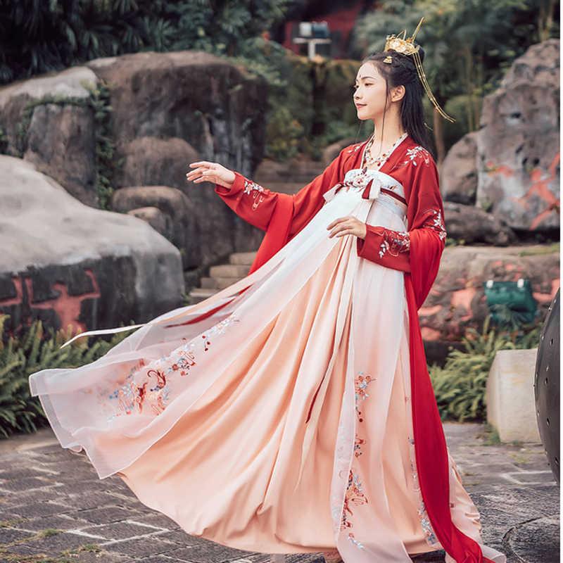Cinese Tradizionale Rosso Delle Donne Han Fu per Le Donne Fotografia Vestito Fata Cosplay Folk Antico Costume Del Partito Del Ricamo Ханфу