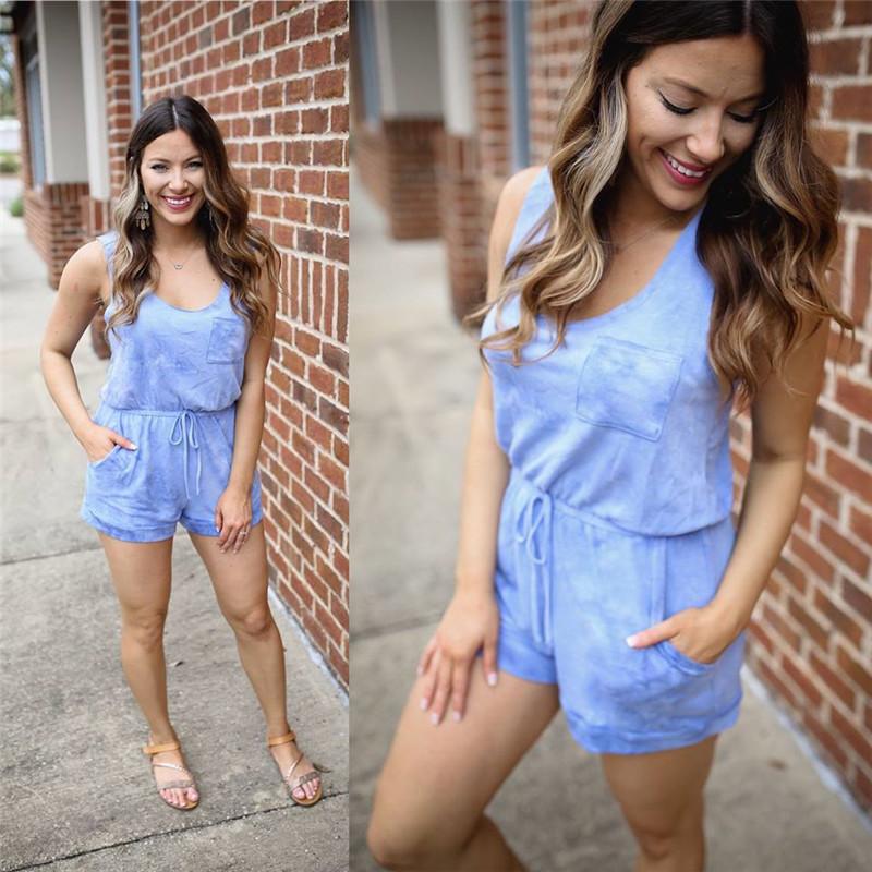 New Women Tie Dye Printed Pocket Vest Jumpsuit Fashion Gradient Color Lace up Bodysuit Elegant Summer Loose Beach Pink Overalls