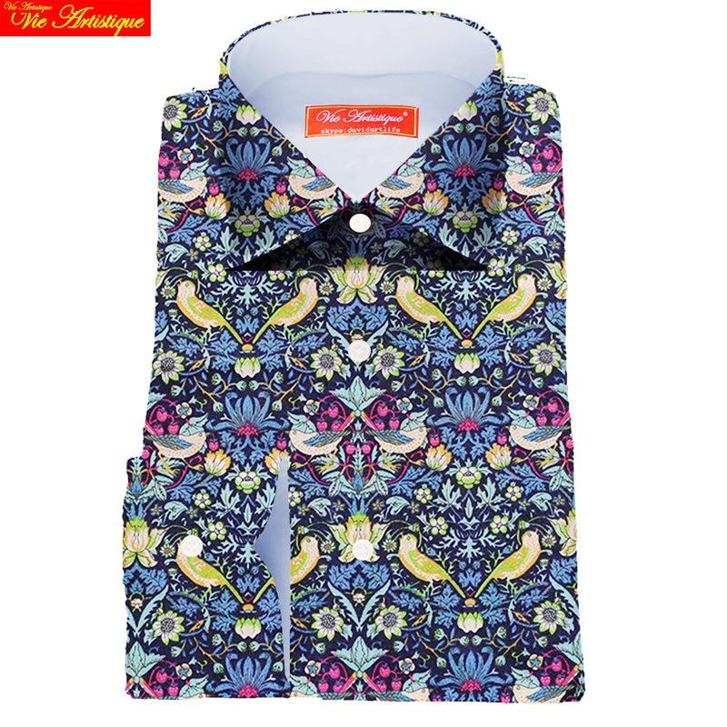 custom tailor made Men's bespoke shirts business formal wedding ware bespoke blouse liberty cotton green sea flower bohemian