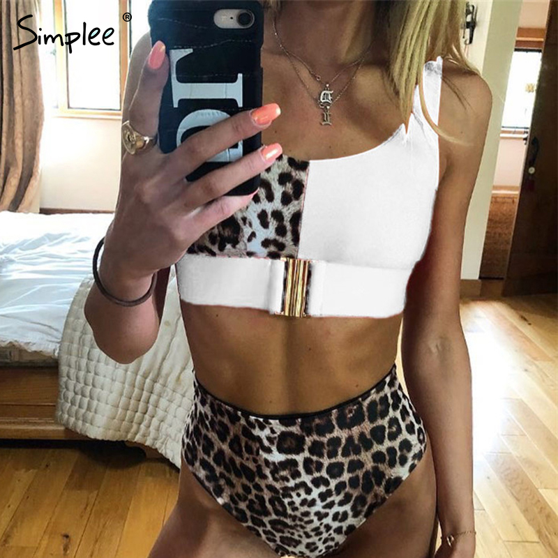 Simplee Sexy Leopard Print Women Swimwear Bathing Suit Push Up Two-pieces Bikini Set Summer Beach Casual High Waist Swimsuit