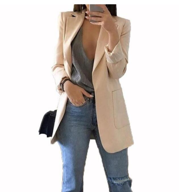 Hot 2020 Women Fashion Jacket Female Work Office Solid Pocket Business Casual Suit Coat
