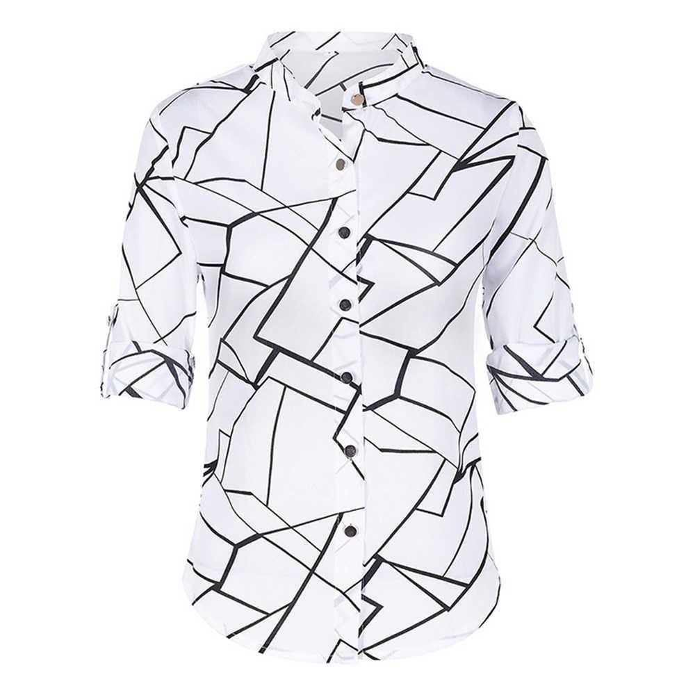 Ample col montant femmes chemises nouveau automne mode bouton décontracté Floral à manches longues brève chemise femmes Blusas Femininas