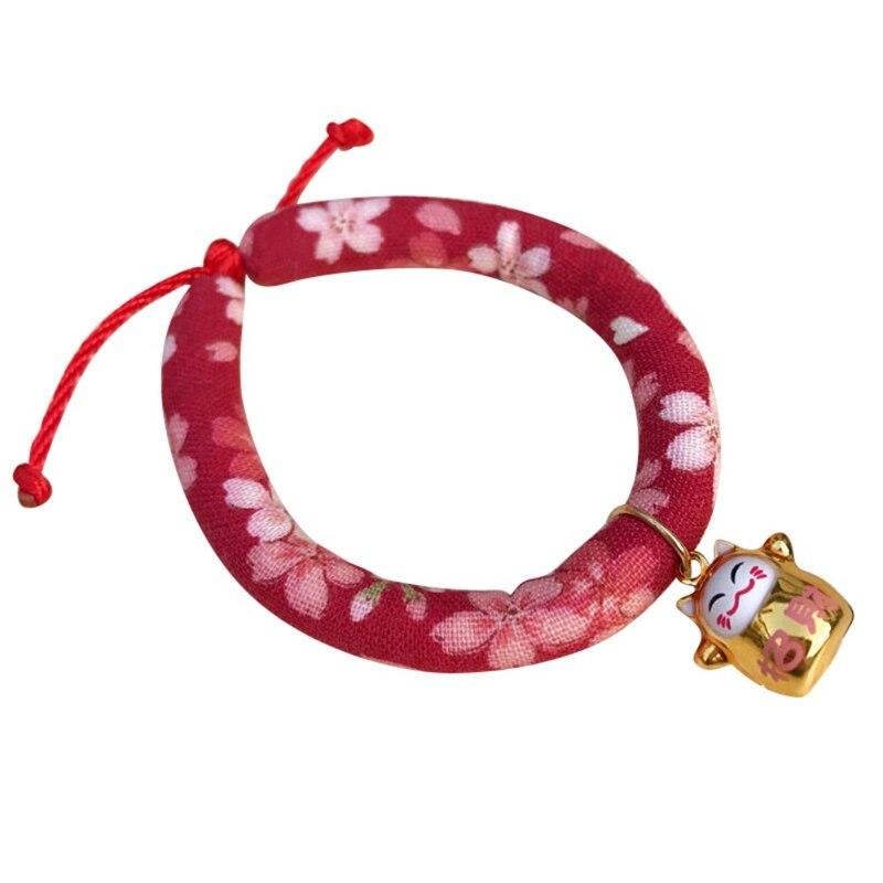 Цветное напечатанное ожерелье ручной работы колокольчик Ошейник Кошка для галстука аксессуары для домашних животных щенок Печатный Регулируемый с - Цвет: B