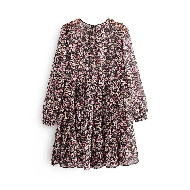 Floral Print Pleated Long Sleeve O Neck Loose Boho Dress 2