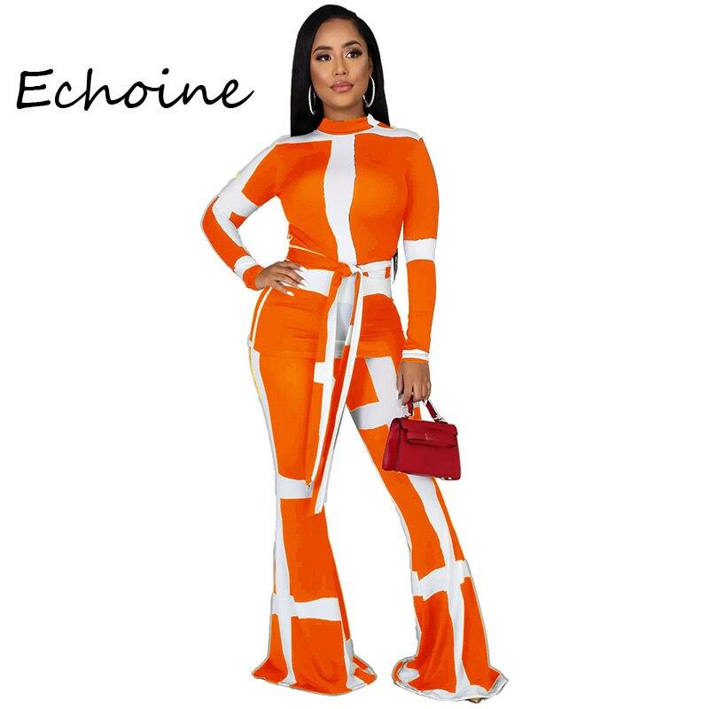 Casual Two Piece Set Striped Bandage Pants Set Color Patchwork Flare Pants Tracksuit For Women Autumn Winter Sportwear