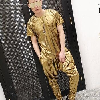 Gold Nightclub Singer Fashion Mens 2 Piece Set Tshirt+pant Male High Streetwear Hip Hop Tees Harem Trousers Joggers Clothes